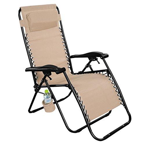 Giantex Light Brown Folding Zero Gravity Reclining Lounge Chairs Outdoor Beach Patio Yard New by Giantex