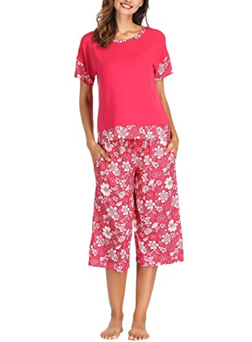 - Ink+Ivy Women Pajama Set Oversized Tee and Capri Lounge Pants Red White Floral Small