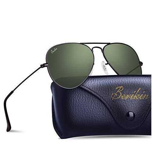 BERIKIN For Men Wowen Classic Aviator Style Sunglasses Green Glass Lenses Black Metal Frame Non-polarized UV400 ()