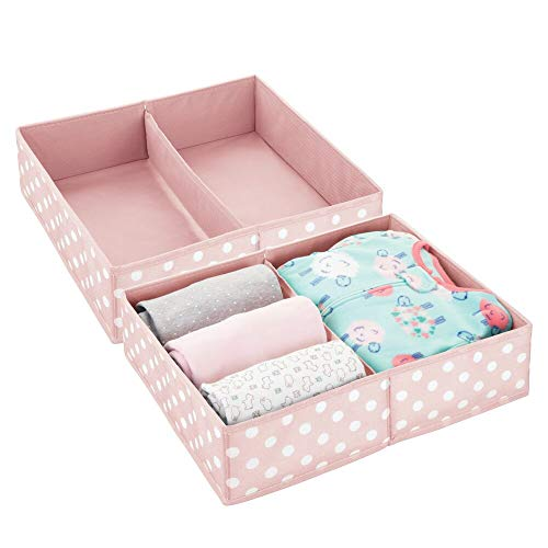 mDesign Soft Fabric Dresser Drawer and Closet Storage Organizer Set for Baby Room/Nursery, Child, Kids, Girls, Boys Clothes - 2 Section Wide Organizers, 2 Pack - Pink, White Dots