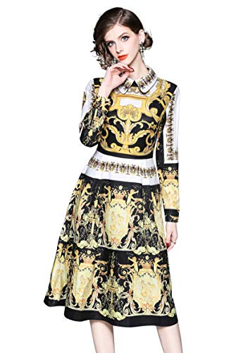 Flare Floral 1 Party line Midi Casual and Yellow Boho Dress A Swing Women's Neck Collared 8Eyn8qH