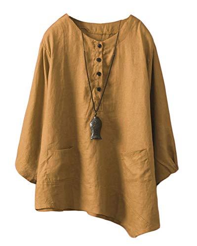 (Minibee Women's Linen Tunic Blouse Elbow Sleeve Asymetrical Shirt Top with Pockets Dark Yellow XXL)