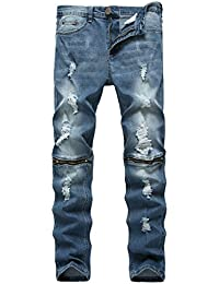 Men's Skinny Ripped Distressed Destroyed Slim Straight Fit Zipper Jeans with Holes