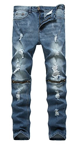 (NITAGUT Men's Skinny Ripped Distressed Destroyed Slim Straight Fit Zipper Jeans with Holes (W 30, Denim-Light Blue))