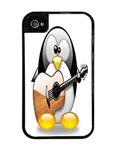 Cute Penguin Playing the Guitar Black 2-in-1 Protective Case with Silicone Insert for Apple iPhone 5 5s
