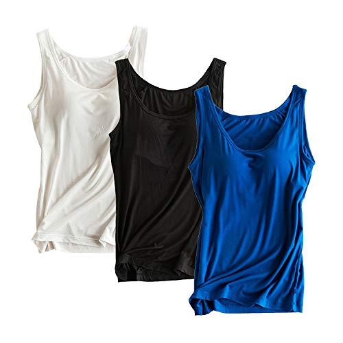 Women Tanks Top Stretch Camisole 3 Piece Ladies Top Underwear, XL(black, white, royal - Support Cami Bra