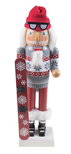 "Clever Creations Snowboarding Santa Claus Nutcracker Traditional Collectible Wooden Christmas Nutcracker | Festive Holiday Décor | Wearing Boots and Goggles |with Snowboard | 100% Wood | 14"" Tall"