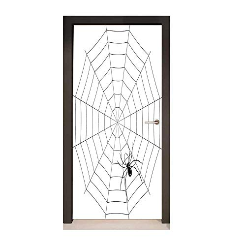 Spider Web Door Wallpaper Toxic Poisonous Insect Thread Crawly Malicious Bug Halloween Character Design for Office Decoration Black White,W23xH70 ()