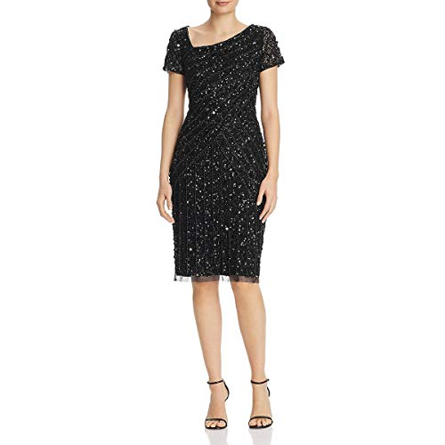 Adrianna Papell Women's Beaded Short Dress, Black, 10
