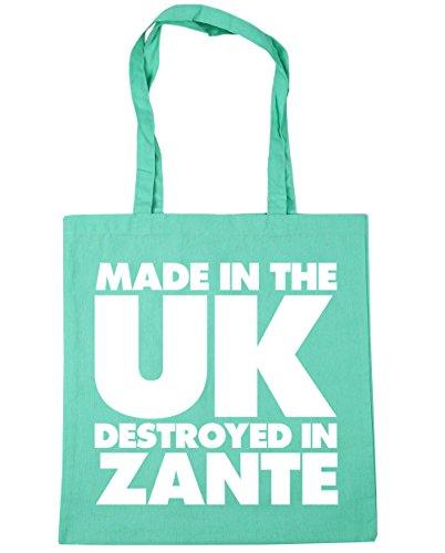 Hippowarehouse Fatto Nel Regno Unito Distrutto In Zakynthos Shopping Bag Borsa Da Spiaggia Palestra 42cm X38cm, 10 Litri - Verde Menta, Taglia Unica