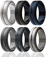 ROQ Silicone Wedding Ring for Men, Elegant, Affordable 8mm Silicone Rubber Wedding Bands, Singles & 4 Pack