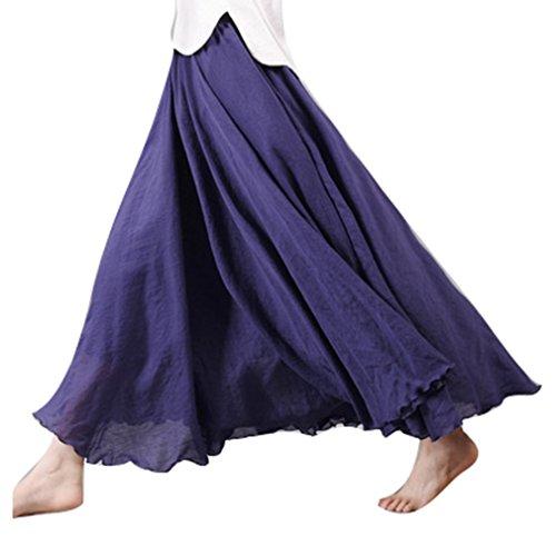 juqilu 20 Couleurs Coton Lin Double Couche Jupe Longues Jupes Dames Taille Haute Jupe Doux Confortable Cyan