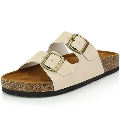 DailyShoes Women's Fashion Buckle Flat Casual Adjustable Strap Sandal Shoes, Beige PU, 8.5 B(M) US -