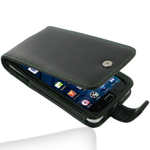 PDair F41 Black / Green Stitchings Leather Case for Samsung Galaxy S WiFi 5.0 YP-G70/Galaxy Player 5.0