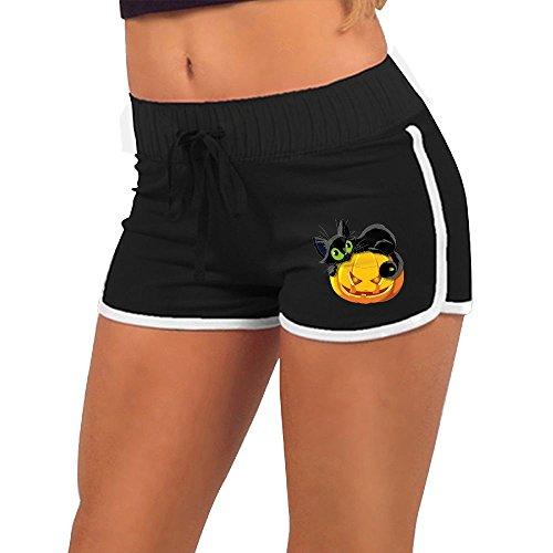 Halloween Cat NiuNiu Women Short Pants Low Waist Yoga Shorts Sports Shorts Outwork Sports Shorts