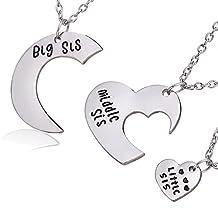 lauhonmin Sister Necklace Set Big Sis Middle Sis Little Sis Love Heart Charm Pendant Family Gift 3pcs