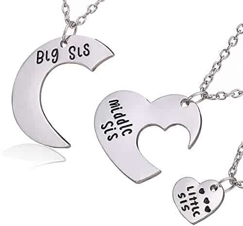 3pcs Family Jewelry Gift Big Sis Middle Sis Little Sis Love Heart Charm Pendant Necklace Set for Sister