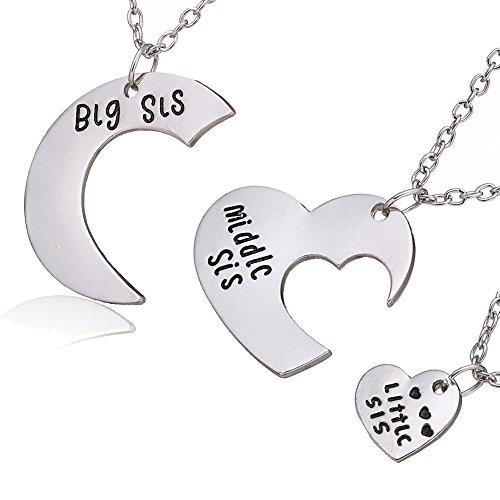 3Pcs Family Jewelry Gift Big Sis Middle Sis Little Sis Love Heart Charm Pendant Necklace Set For Sister  3Pcs Big Middle Little Sister Necklace