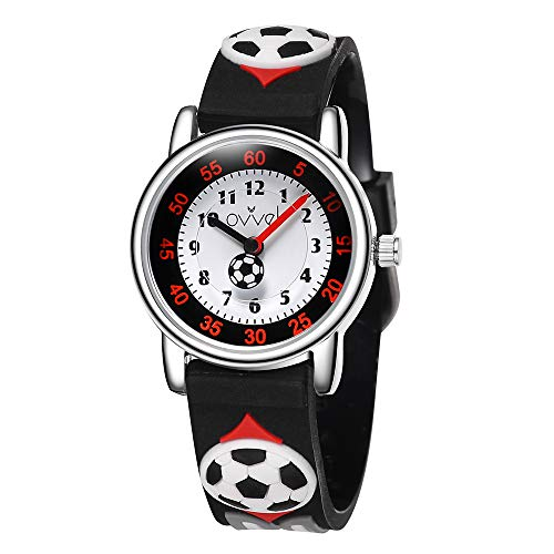 Ovvel Boys Watch - Pretty and Cute Kids Wristwatch with Teaching Analog Display Time Teacher - Japanese Quartz - Black Soccer]()