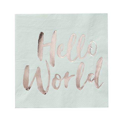 Paper Napkins Baby Shower Ideas Decorations Boy or Girls Hello World 6.5 Mint Green Pk 32