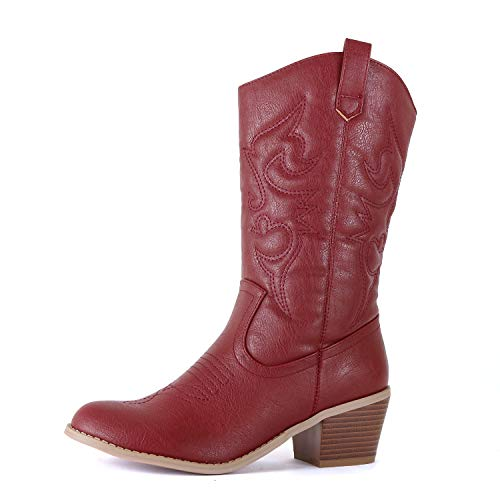 West Blvd - Womens Miami Cowboy Western Boots (11 B(M) US, Burgundy - Side Platform West Leather