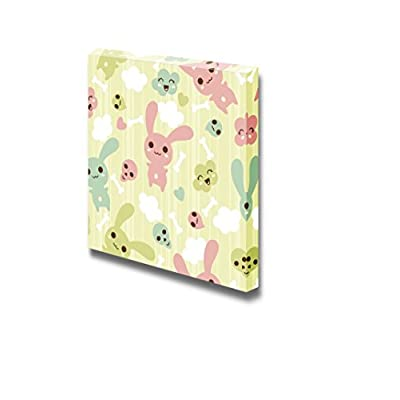 Canvas Prints Wall Art - Seamless Pattern with Cute/Kawaii Doodle | Modern Wall Decor/Home Art Stretched Gallery Wraps Giclee Print & Wood Framed. Ready to Hang - 24
