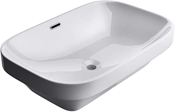 Durovin Bathrooms Semi Recessed Ceramic Basin Self Rimming Inset Sink Curved Rectangular With Overflow Slot 610 X 405mm Wxd Amazon Co Uk Diy Tools