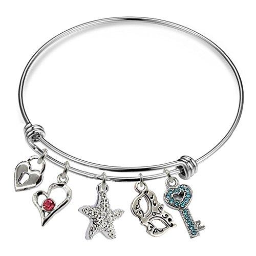 YOYONY Inspirational/motivational/LOVE/Memorial/Thankful/Beauty/Praise/Religious/Friendship Meaningful Message Charm Bracelets (lock&key&heart&starfish&mask charm bracelet)