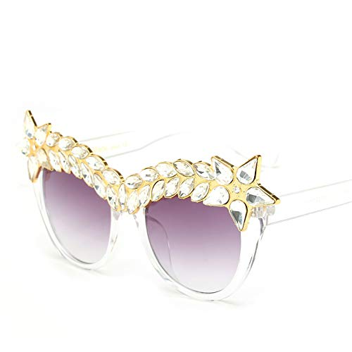 Large Women Crystal Sunglasses Cateye Shaped Jeweled Fashion Costume Sun Shades (Clear White, 50)