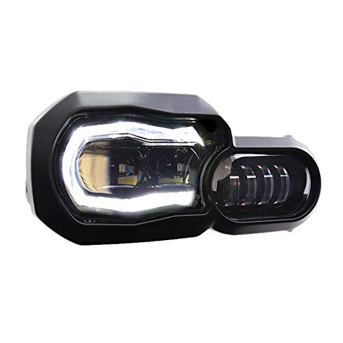 ATOPLITE BMW moto LED Headlight High/Low Beam with Angel Eyes DRL Assembly Kit and Replacement Headlight For BMW F650GS/F700GS/F800GS F800ADV F800R