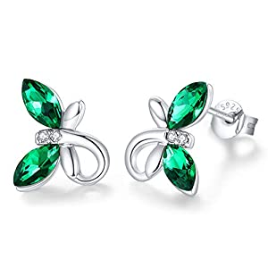 CDE Birthstone Jewelry for Teen Girls Hypoallergenic Butterfly Stud Earrings Sparkling Austrian Crystals 925 Sterling…