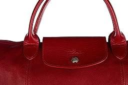 Longchamp women\'s leather handbag shopping bag purse red