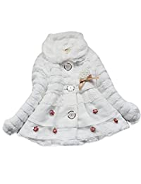 Toddlers Kids Baby Girl Floral Faux Fur Fleece Winter Warm Jacket Coat Outwear - white 12