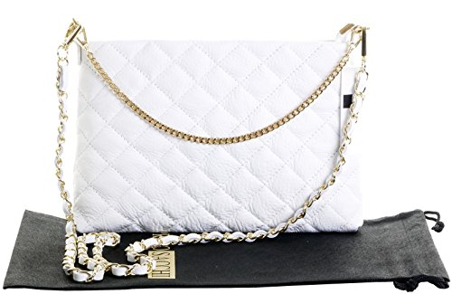 rangement matelassé avec un court comprend cuir métal en et main artisanal attaché sac de protecteur bracelet main sac à Fabriqué Long et sac à la en italien Slim blanc Plat chaîne cuir élégant marque 4nwCOxTv
