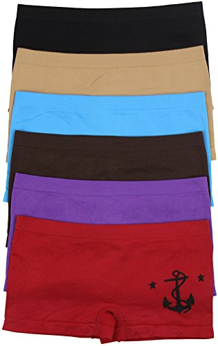 ToBeInStyle Women's Pack of 6 Seamless Anchor & Stars Boyshorts - One (Butterfly Print Boxers)