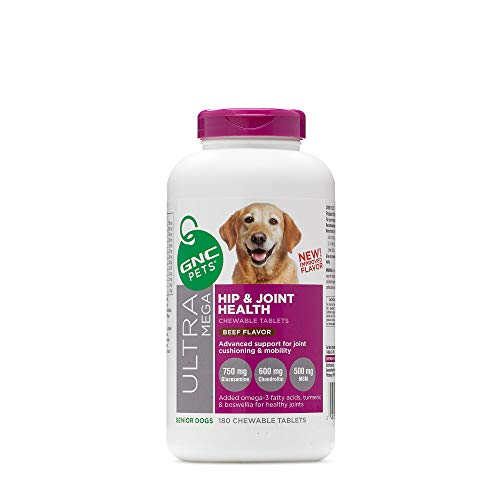 GNC Pets Ultra Mega Hip & Joint Health Chewable Tablets Dog Supplement for Senior Dogs, 180 Count - Beef Flavor | Advanced Support for Joint Cushioning & Mobility, Chewable Tablets - Senior Dogs