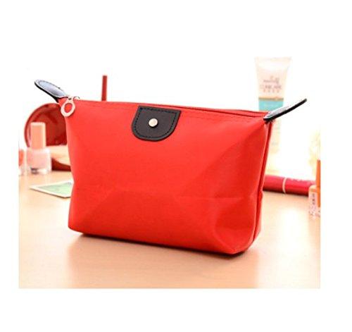 Domire–Borsa a forma di nylon impermeabile con cerniera cosmetici borsa trucco borsetta, rosso