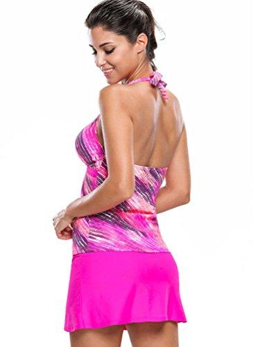 Baymate Mujer Elegante Traje de Baño de Dos Piezas Tankini Halter Bikini Ropa de Playa Rose