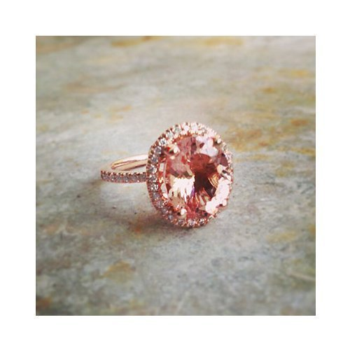 Vintage Natural Oval Cut Halo Morganite Engagement Ring 14k Rose Gold or Yellow Gold or White Gold 11x9mm Oval Pink Peach Morganite Ring HANDMADE Free Shipping