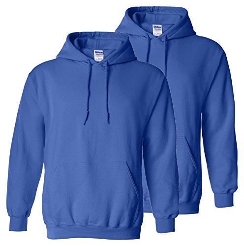 Gildan Adult Preshrunk Hooded Sweatshirt, Royal, L (Pack of 2)