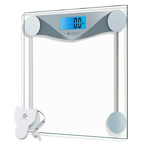 Etekcity Digital Body Weight Bathroom Scale with Body Tape Measure, 8mm Tempered Glass, 400 Pounds (Super Scale Wood)