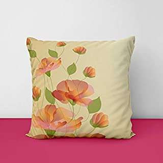 41qjjBtlatL. SS320 Flower Beize Square Design Printed Cushion Cover