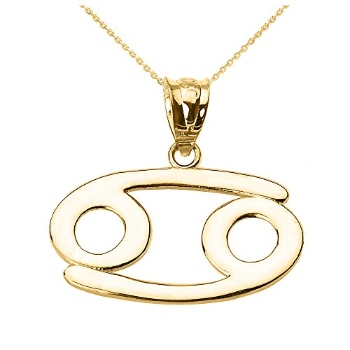 Personalized 10k Yellow Gold Cancer Zodiac Sign Pendant Necklace, ()