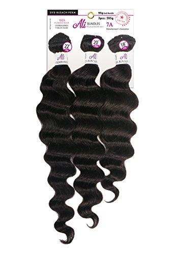 Price comparison product image [7A Grade Unprocessed Brazilian Hair] Aliexpress Brazilian Human Hair 3 Bundles Ocean Wave -3 Bundles in 1 Pack Solution -Naturl Black (12+14+16)