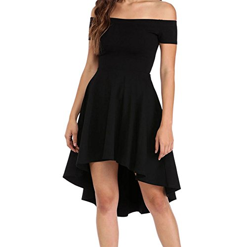 Eiffel Women's Off Shoulder High Low Hem A-line Evening Party Skater Dress Black