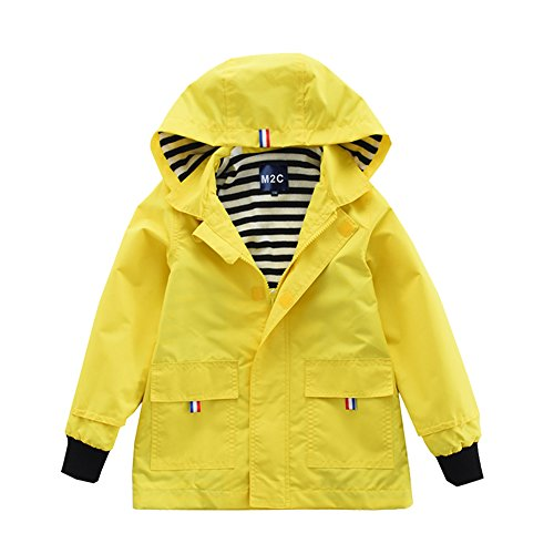 M2C Boys & Girls Raincoat Hooded Jacket Outdoor Light Windbreaker 3T Yellow (Raincoat Windbreaker)