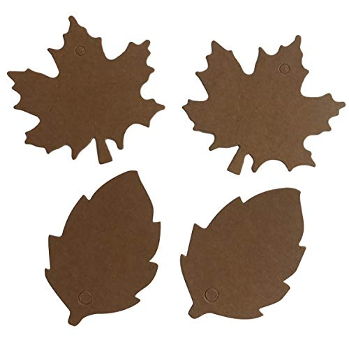 Tag Craft Paper Brown 200 Pcs Size 6cm and 4cm Gift Hang Maple Leaf Kraft Label Decorative Christmas Thanksgiving Wedding Paty Merchandise