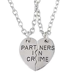 Forma de Corazón Partners in Crime Pareja Tiny colgante collares color plateado