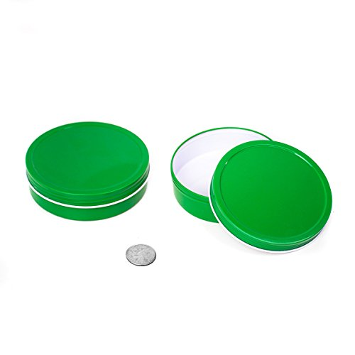 Candle Favors Gel Wedding - 24 Piece Mimi Pack 8 oz Round Shallow Screw Top Metal Tin Container Lid Steel Containers For Spices, Candy Favors, Balms, Gels, Candles, Gifts, Storage (Green)