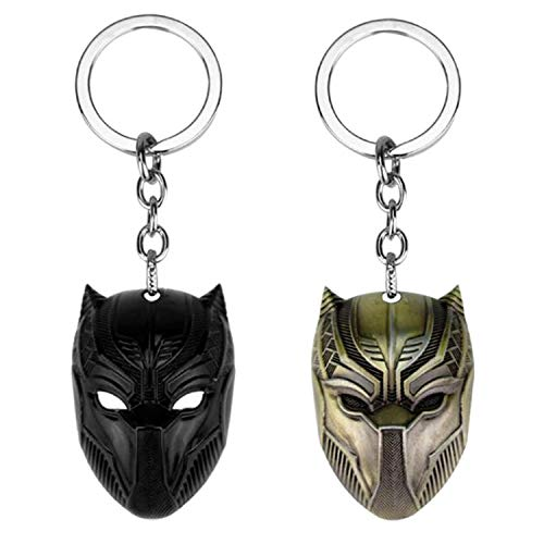 Sio & Tan Black Panther Mask Alloy Keychain/key chain,(Black,Gold,Silver) (Gold & Black, 2 ()